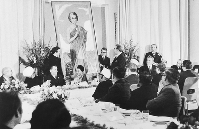 L. Brezhnev Presents to Indira Gandhi Her Portrait, Painted I. Glazunov. Delhi