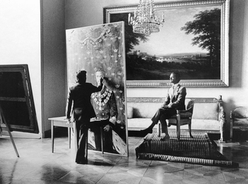 Work on the Portrait of the King of Sweden Carl XVI Gustaf. Stockholm