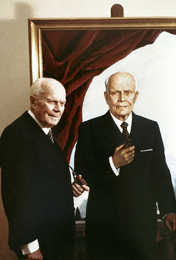 Italian President Alessandro Pertini in front of His Portrait. Rome