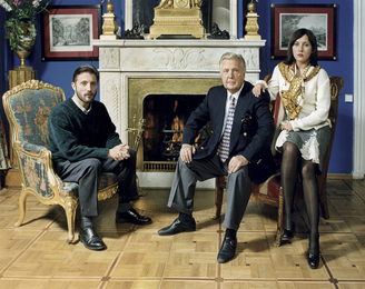Ilya Glazunov with His  Son Ivan and His Daughter Vera