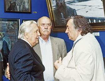 И.С. Глазунов, режиссер С.С. Говорухин и писатель А.А. Проханов в картинной галерее художника. Москва