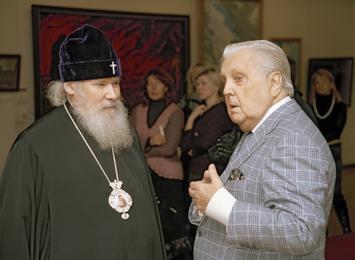 Святейший Патриарх Московский и Всея Руси Алексий II и Илья Глазунов в картинной галерее художника. Москва