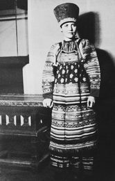Ilya Glazunov`s Wife Wearing a Russian Folk Costume