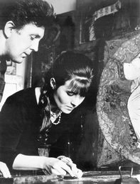 Ilya Glazunov with His Wife Restoring an Icon. Moscow