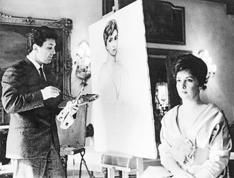 Илья Глазунов пишет портрет Джины Лоллобриджиды. Рим