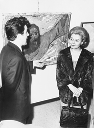 "Ilya Glazunov and Giulietta Masina at the Exhibition in the Gallery ""La Nuova Pesa"". Rome. Italy"